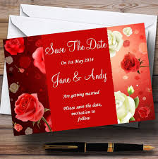 Red Save The Date Cards Red And White Roses Personalised Wedding Save The Date Cards