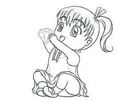 Chibi Coloring Pages Cute Anime Girl Disney Princess Colouring
