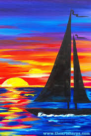 easy canvas sunset sailboat full tutorial on you with the art live how to paint beginner