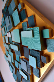 wood wall art with led 3d wall lamp