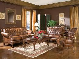 claret traditional living room brown wood trim tufted leather sofa couch set new