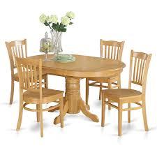 5 Piece Dining Table Set For 4 Table With Leaf And 4 Dining Chairs