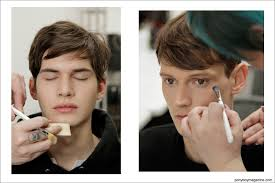 obsessive pulsive cosmetics make up team primp male models backse before walking in the duckie