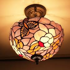 pink and purple stained glass erfly design 12 inch chandelier in tiffany style