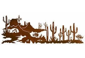 84 desert scene with cactus and sun metal wall art