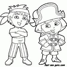 Printable Dora The Explorer And Diego Dressed As Pirate Coloring