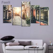 home decor 5 panel wall art oil painting  on house wall art painting with home decor 5 panel wall art oil painting canvas prints paris city