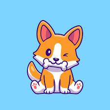 Free Vector | Cute <b>corgi dog</b> eating bone cartoon