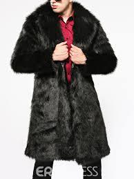 ericdress plain lapel thicken warm men s faux fur coat 13062382