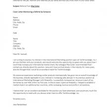 Best Solutions Of Cover Letter Example Resume Referral From Friend