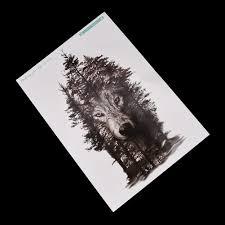 водонепроницаемый временные татуировки наклейки груди часы волк лес тату