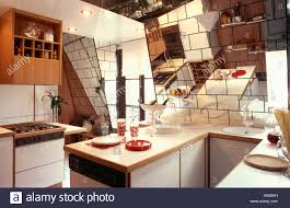 Attic Kitchen Small Attic Eighties Kitchen With Mirror Tiles On Sloping Walls