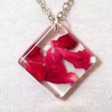 red rose petals geometric romantic eco friendly nature jewelry botanical necklace in