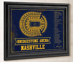 Bridgestone Predators Seating Chart Nashville Predators Bridgestone Arena Seating Chart Vintage Hockey Print