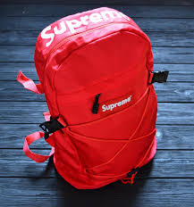 red supreme backpack leather