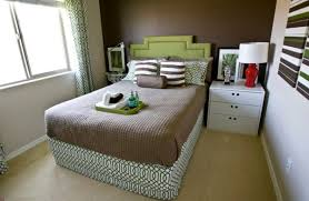 Small Bedroom Creatively Frame Narrow Double Bed With Grass Green Headboard