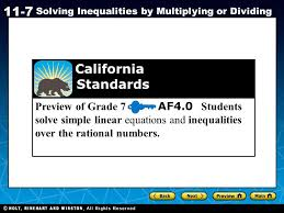 holt ca course 1 11 7 solving inequalities by multiplying or dividing preview of grade