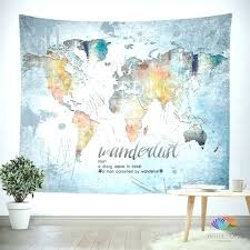 world maps wall hanging wander e tapestry map watercolor grunge old w