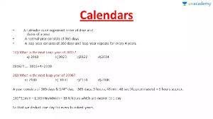 Basic Calendars Calendars Basic Concepts Calendar And Date Problems Unacademy