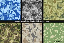 Set Of Multicam Camouflage Seamless Patterns Military Background
