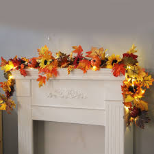 Fall Garlands With Lights Us 16 33 22 Off Wreath Decoration 1 8m Led Lighted Fall Autumn Pumpkin Maple Leaves Garland Festival Party Decor Decorations Farmhouse Decor In