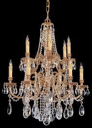 12 light olde brass crystal chandelier dd in clear hand cut crystal