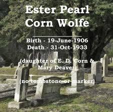 Ester Pearl Corn Tombstone at Pleasant Hill Cemetery