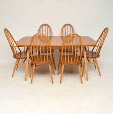 1960 s vintage ercol grand windsor dining table six chairs