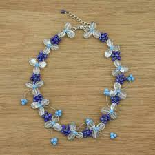 unicef market women s lapis lazuli and quartz beaded flower necklace bluebell breeze