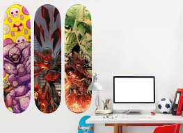 justice league skateboard set 3 wall decal