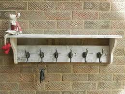 White Coat Hook Rack Rustic Wall Mounted Coat Rack With Shelf By WillsWorkshoppe 92