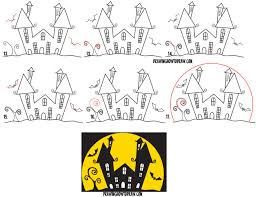 Learn How to Draw a Cartoon Haunted House Step by Step in Silhouette with  Bats (