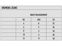 49 Accurate Womens Jeans Size Chart Inches