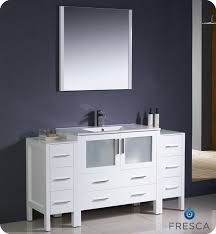 fresca torino 60 white modern bathroom vanity w 2 side cabinets integrated sink