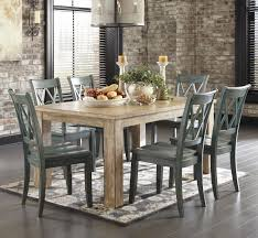 7 piece table set with antique blue chairs