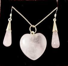 rose quartz heart pendant and earrings set larger image