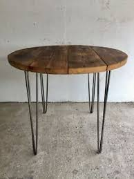 Details About Industrial Reclaimed Timber Scaffold Board Round Table On Hairpin Legs