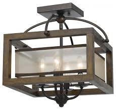 wood mission 4 light flush mount ceiling fixture with organza shade traditional flush mount