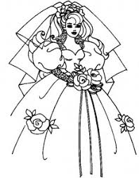 Small Picture coloring page of bride wedding dress for kids Coloring Point