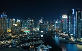 Dubai City Night Lights Port Harbor Desktop Wallpaper