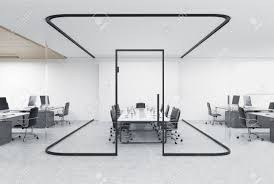 open office concept. Open Office With A Glass Aquarium And Conference Room Inside. Concept Of Modern R
