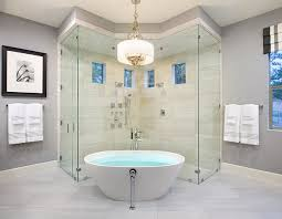 view in gallery combine the tub with a smart shower area