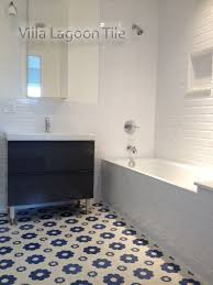 White Bathrooms with Beautiful Floors Cement Style