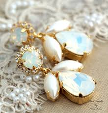 white opal and faux pearls swarovski chandelier white and gold bridal earrings rhinestone jewelry 14k gold plated gold wedding jewelry