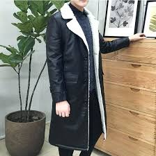 4xl mens coats men long trench coat leather jacket fur plus size winter overcoat