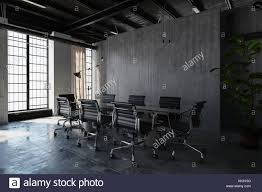 polished concrete furniture. An Contemporary Industrial Style, Empty Polished Concrete Office Room With Table, Chairs And Bright Furniture