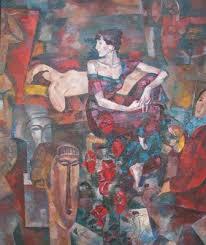Ежегодная выставка дипломных работ выпускников Института живописи  Мершиева Ю С Анна Ахматова и Амедео Модильяни 2008 Холст масло