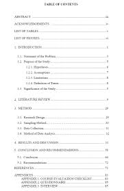 Dissertation Table Of Contents Apa Example Appendix Thesis