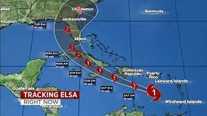 Hurricane Elsa's long-range forecast path