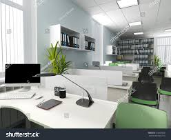 modern style office. Office Interior In Modern Style 3d Rendering